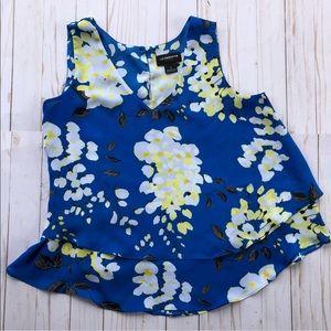 Liz Claiborne career blue floral print blouse